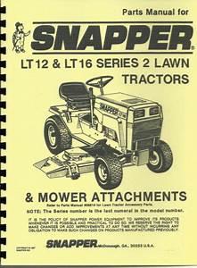 Snapper Lt12  U0026 Lt16 Lawn Tractor Parts Manual