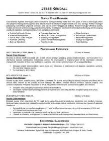 supply chain management resume skills exle supply chain manager resume free sle