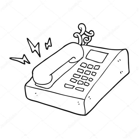 Téléphone De Bureau De Dessin Animé Noir Et Blanc — Image