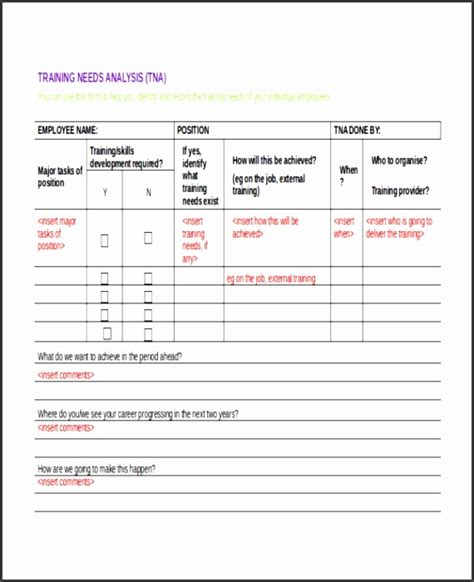 training  assessment template excel
