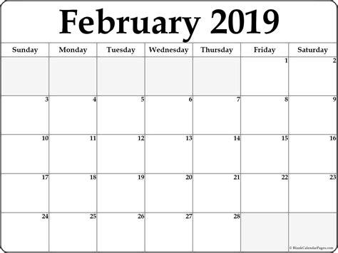 February 2019 Blank Calendar Collection