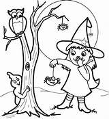 Witch Coloring Pages Cute Halloween Face Pretty Drawing Owl Cartoon Ghost Witches Print Spider Getdrawings Printable Getcolorings sketch template
