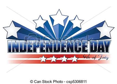 Independence day sign isolated over white.