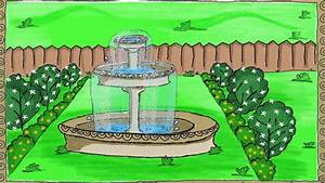 Drawing A Simple Garden Fountain How To Draw For Kids