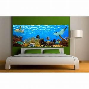 Fond De Lit : stickers t te de lit d co poissons fond marin art d co stickers ~ Teatrodelosmanantiales.com Idées de Décoration