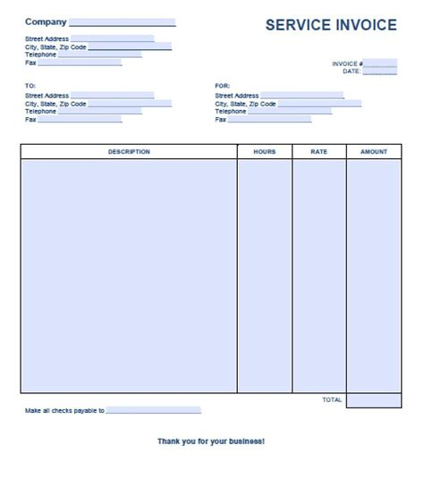 service invoice template excel  word