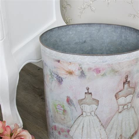 shabby chic waste paper bin mannequin tin waste paper bin shabby vintage chic storage home pretty girly ebay