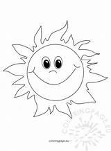 Sun Smiling Cartoon Coloring Coloringpage sketch template