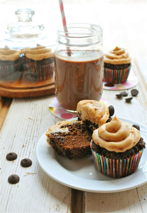 chocolate zucchini cupcakes with peanut butter frosting grain free triple chocolate cupcakes with peanut butter frosting nosh and nourish