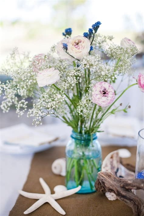 beach wedding centerpieces images  pinterest