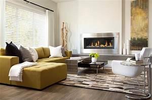 decoration salon avec foyer en coin With idee couleur mur salon 10 la veranda moderne 80 idees chic et tendance