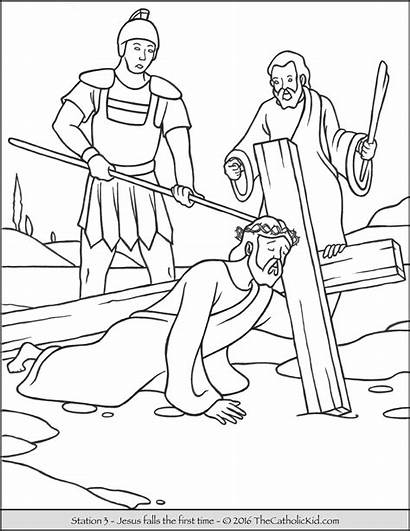 Stations Cross Coloring Pages Jesus Falls Catholic