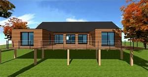 plan maison en bois sur pilotis With maison contemporaine sur pilotis