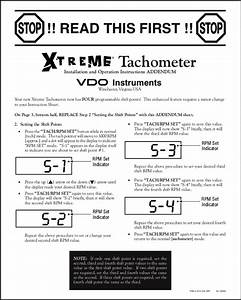 Vdo Extreme Tachometer Installation Instructions Read