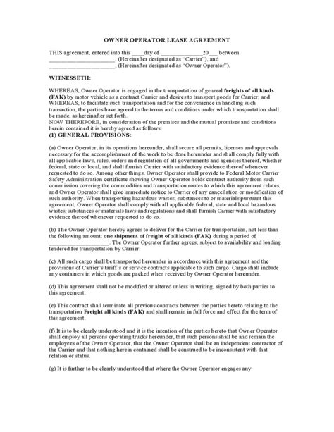 trucking agreement template 38 ideal owner operator lease agreement form sa d81497