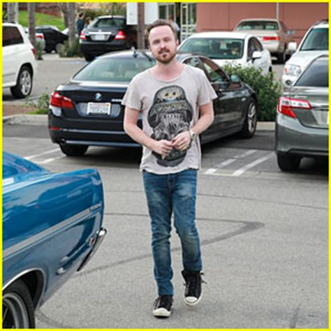 aaron paul just jared aaron paul shows off his retro looking car while shopping