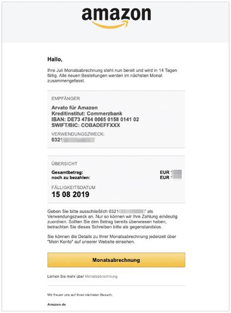 amazon  mail monatsabrechnung echt oder fake