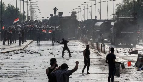martial law unfolding  iraq  protesters shot