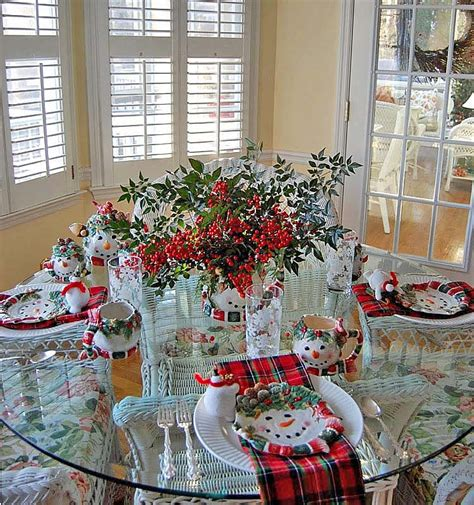 Winter Tablescape With Snowman Plates, Plaid Napkins And A