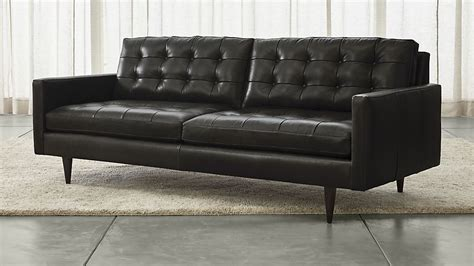 petrie leather sofa laval carbon crate and barrel