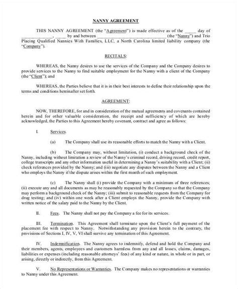 Nanny Contract Template Word by Nanny Contracts Sle Nanny Contract Exles In Pdf