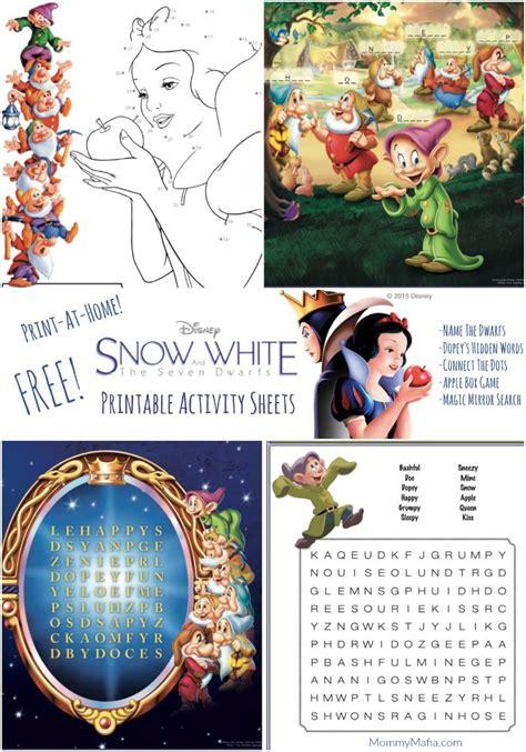 snow white printables activity sheets mommymafiacom