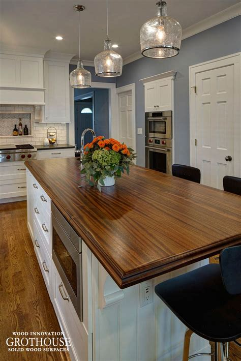 kitchen island with wood countertop distressed sapele mahogany wood countertop in glen ellyn il 8281