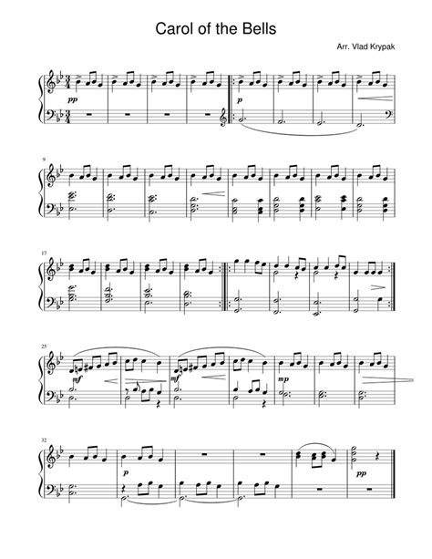 Are you looking for piano sheet music free to play your piano music ? Carol of the Bells (easy version) Sheet music for Piano | Download free in PDF or MIDI ...