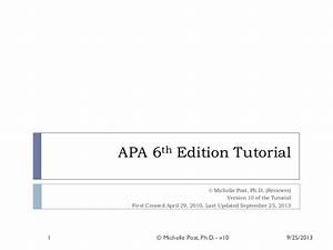 apa 6th ed tutorial v10 With apa version 6 template
