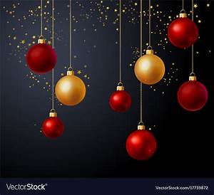 Christmas gold and red balls over black background