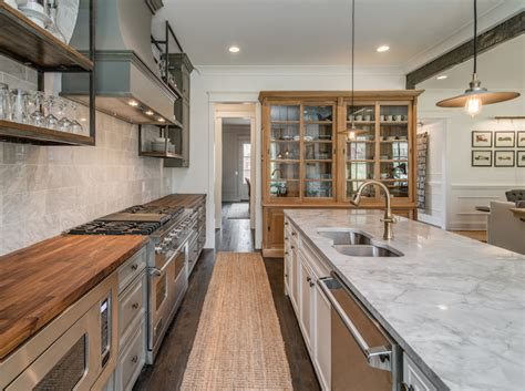 Marble And Butcher Block Countertops by Gray Rustic And Refined Kitchen