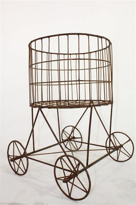 iron ruthie round basket plant stand on wheels