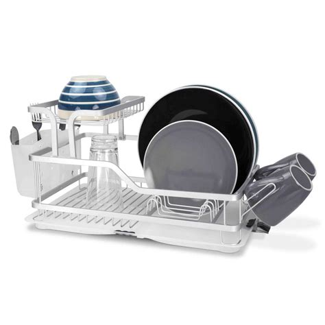 kitchen sink with dish drainer home basics 2 tier aluminum dish rack dd44560 the home depot 8570