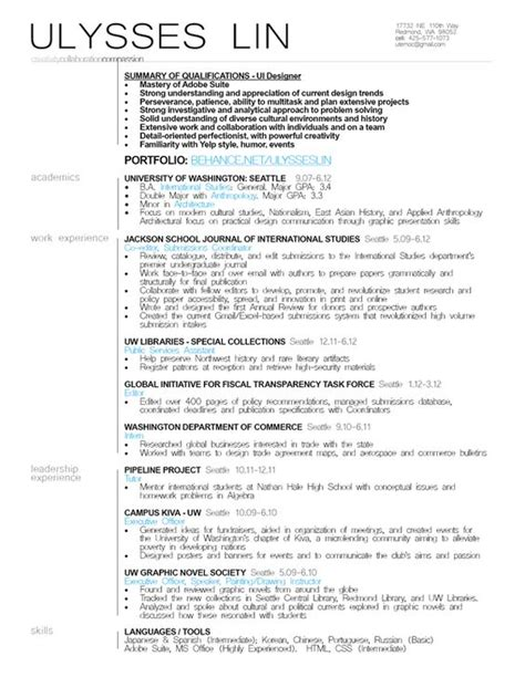 Ui Ux Resume Sle by Ui Designer Resume Exle Resumes Resume Exles Resume And Ux Ui Designer