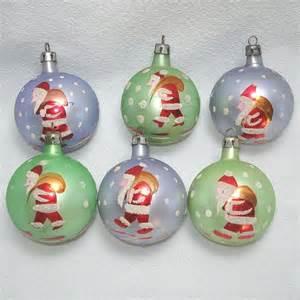 6 poland 1950s stenciled santa glass christmas ornaments from coppertonlane on ruby lane