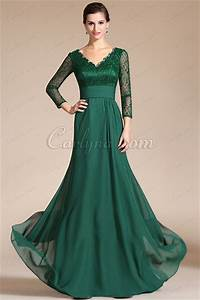 green lace top sleeves mother of the bride dress c26140404 With robe mariee verte