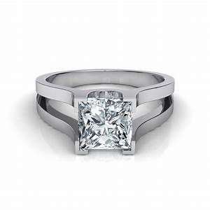 wide band split shank princess cut solitaire engagement ring With split shank wedding rings