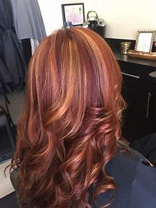 Red hair with blonde highlights and violet low lights! # ...