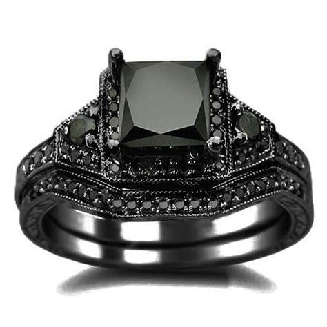 black wedding ring set 2 01ct black princess cut engagement ring wedding set 14k black gold rhodium plating