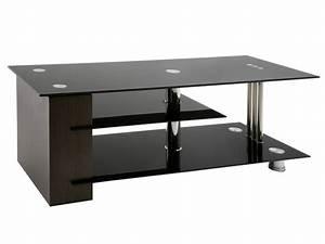 Meuble Tv Noir : meuble tv forti verre noir meuble tv topkoo ~ Teatrodelosmanantiales.com Idées de Décoration