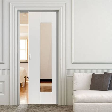 symmetry axis white single pocket door clear glass
