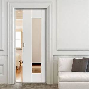 Symmetry Axis White Single Pocket Door - Clear Glass ...