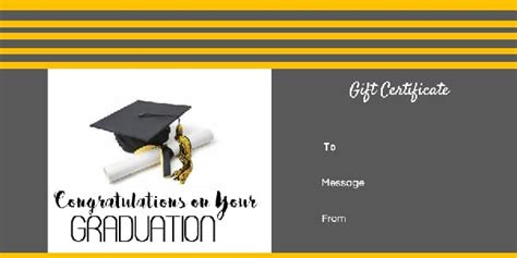 graduation gift certificate template  customizable
