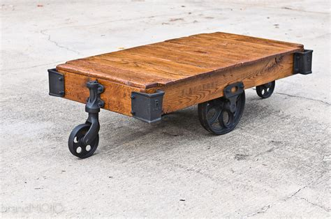 Factory Cart Coffee Table Vintage Industrial Cart Railroad