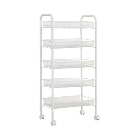 White Metal Storage Shelves by Phfu Langria White Metal Mesh Rolling Cart Storage Rack