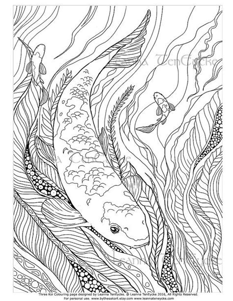 Adult Colouring Page Fish Animals Koi Underwater Sea Life
