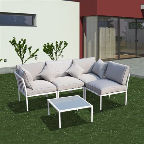 outsunny cushioned 4 patio conversation set white