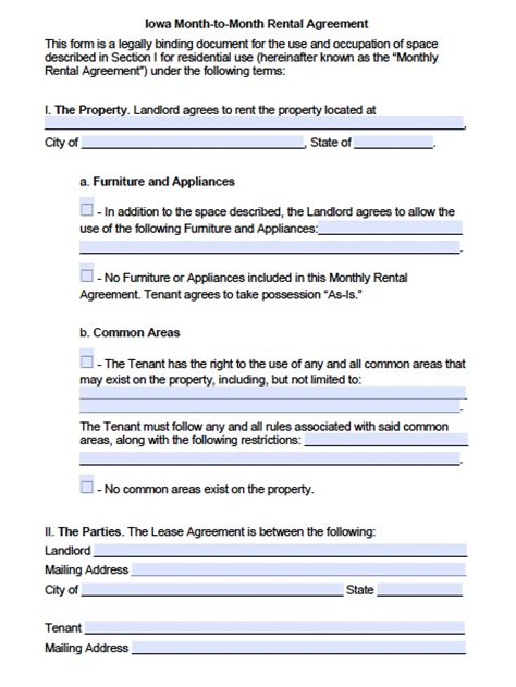iowa month  month rental agreement template