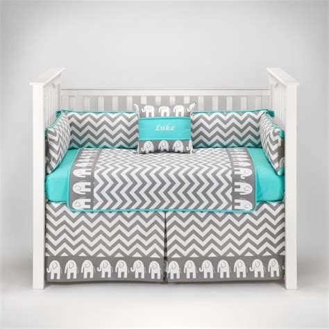 Teal And Grey Baby Bedding by Elephant Chevron Zig Zag Gray Turquoise Baby Bedding