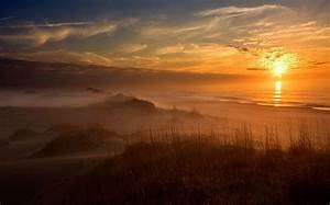 Nature, Landscape, Sunset, Clouds, Beach, Mist, Dune, Sand
